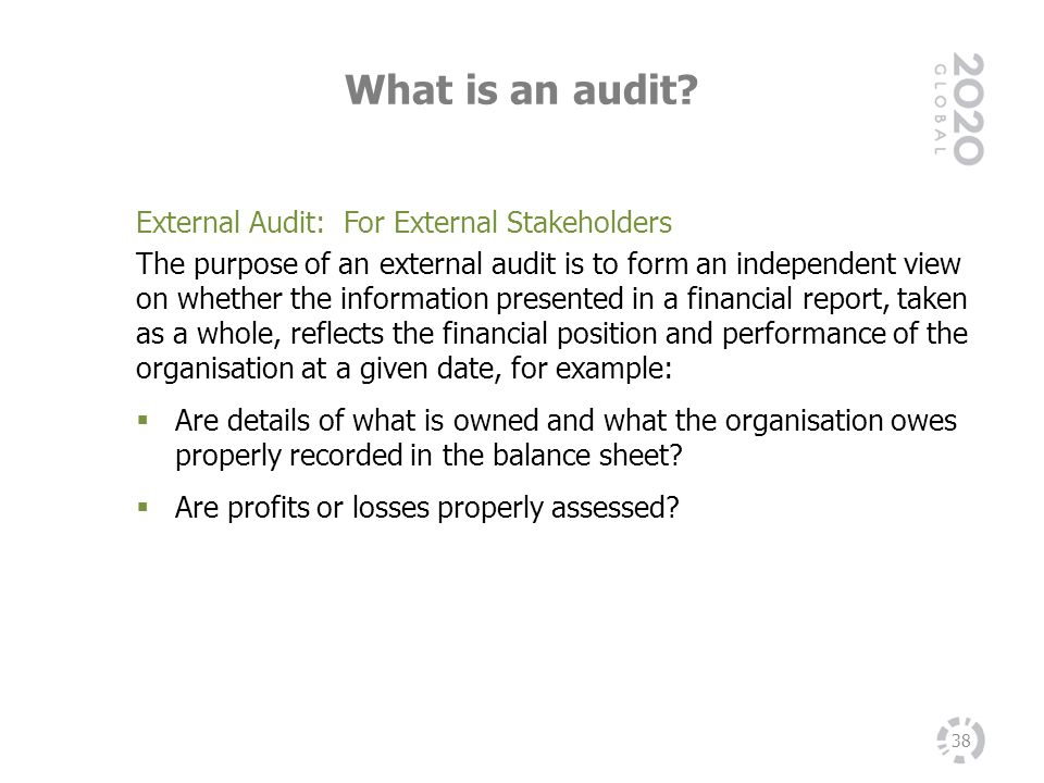 What is an audit External Audit: For External Stakeholders