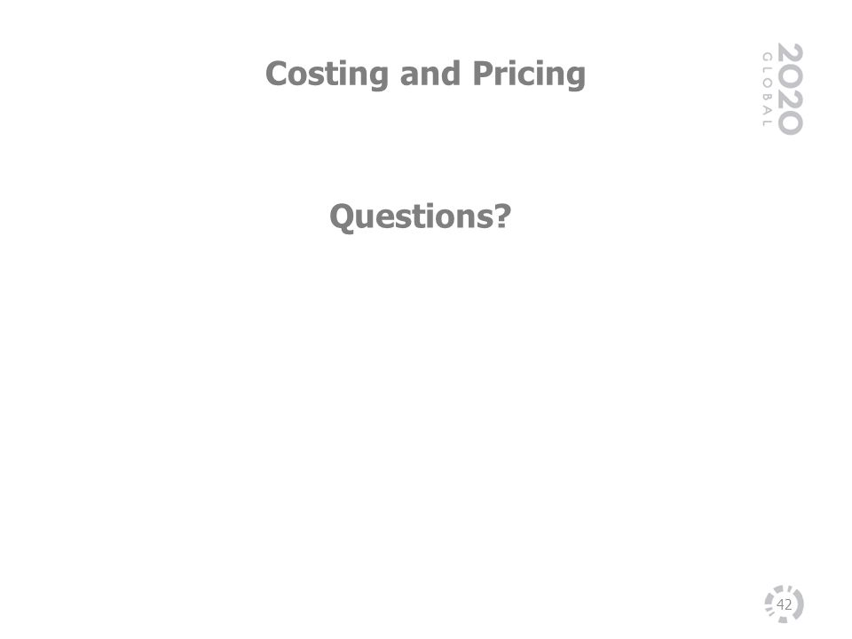 Costing and Pricing Questions