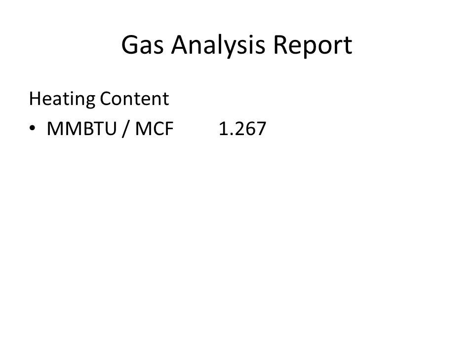 Gas Analysis Report Heating Content MMBTU / MCF 1.267