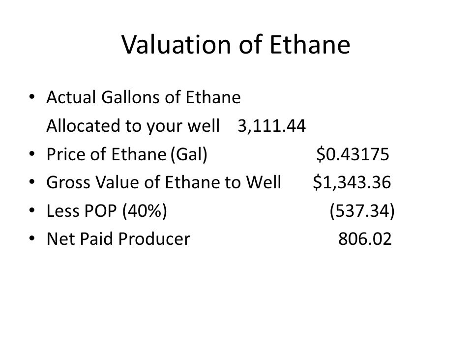 Valuation of Ethane Actual Gallons of Ethane