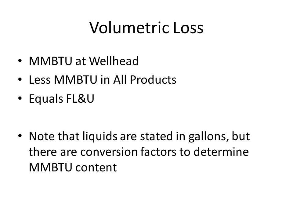 Volumetric Loss MMBTU at Wellhead Less MMBTU in All Products