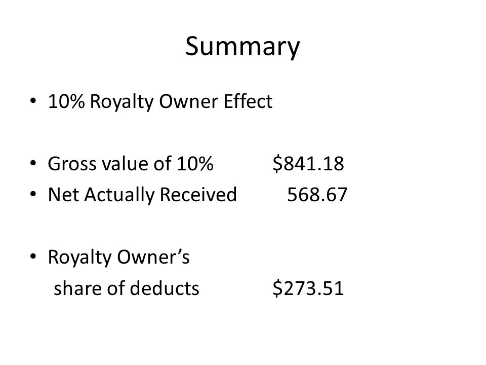Summary 10% Royalty Owner Effect Gross value of 10% $841.18