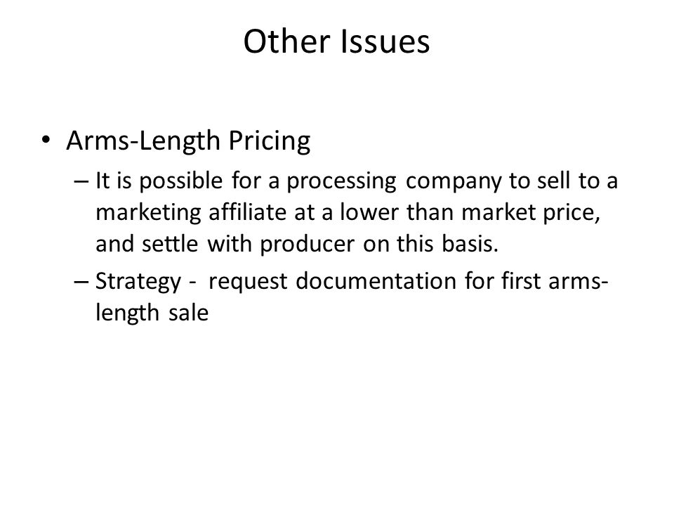 Other Issues Arms-Length Pricing