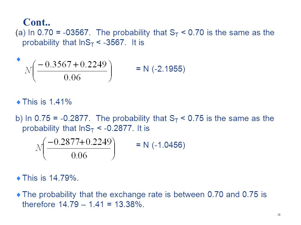 Cont.. (c) In 0.80 = -0.2231. The probability that ST < 0.80 is the same as the probability that lnST < -0.2231. It is.