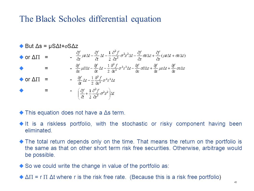 The Black Scholes differential equation
