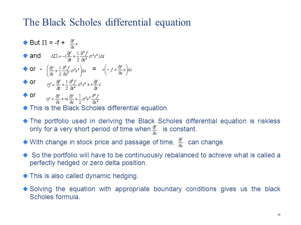 The Black Scholes formula