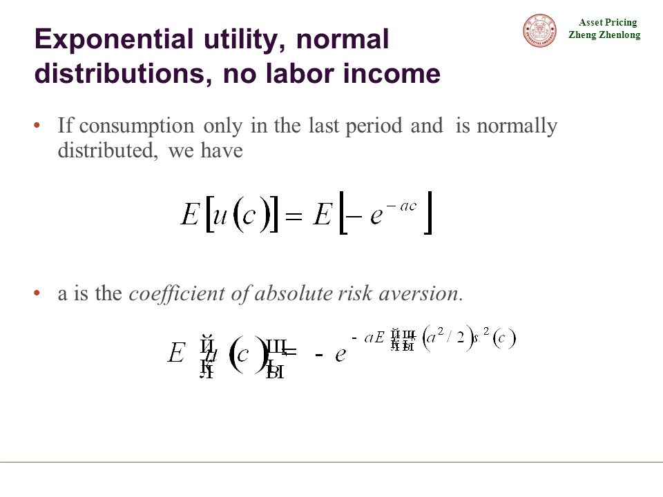 Exponential utility, normal distributions, no labor income
