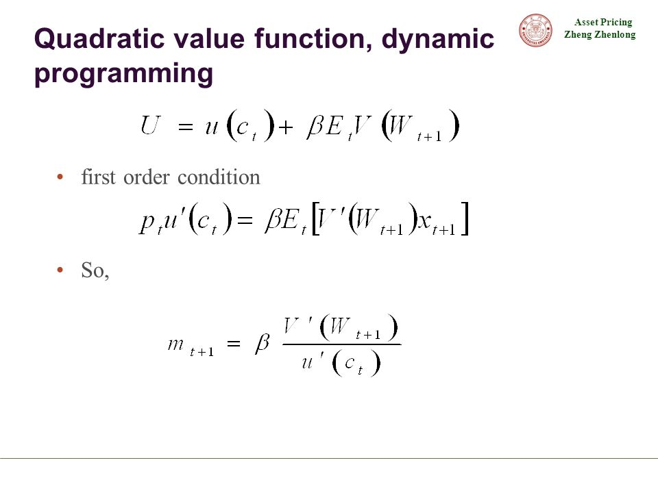 Quadratic value function, dynamic programming
