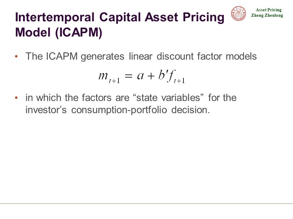 Intertemporal Capital Asset Pricing Model (ICAPM)