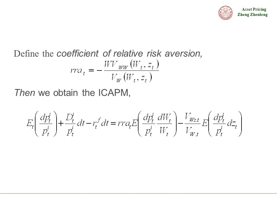 Define the coefficient of relative risk aversion,