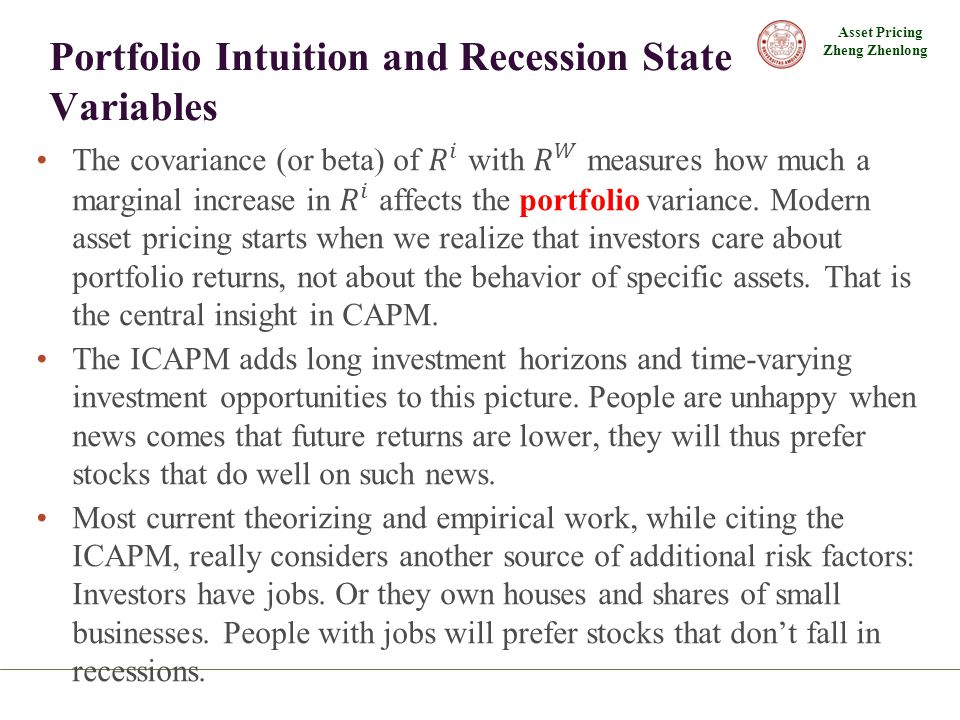 Portfolio Intuition and Recession State Variables