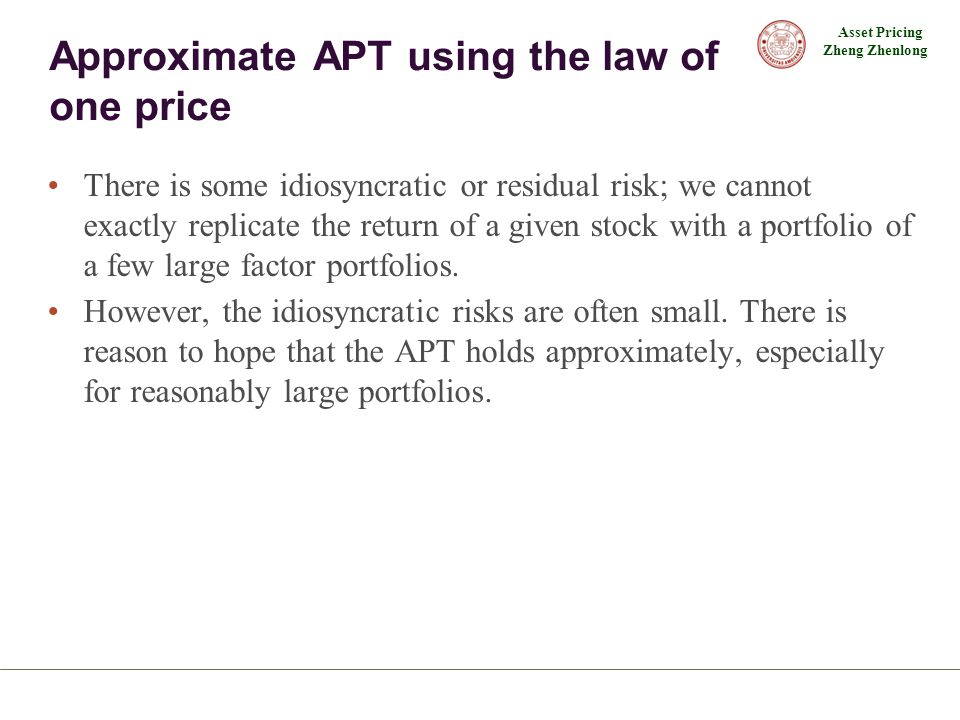 Approximate APT using the law of one price