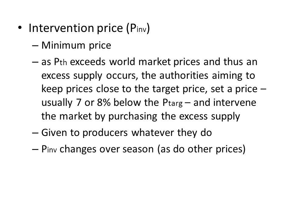 Intervention price (Pinv)