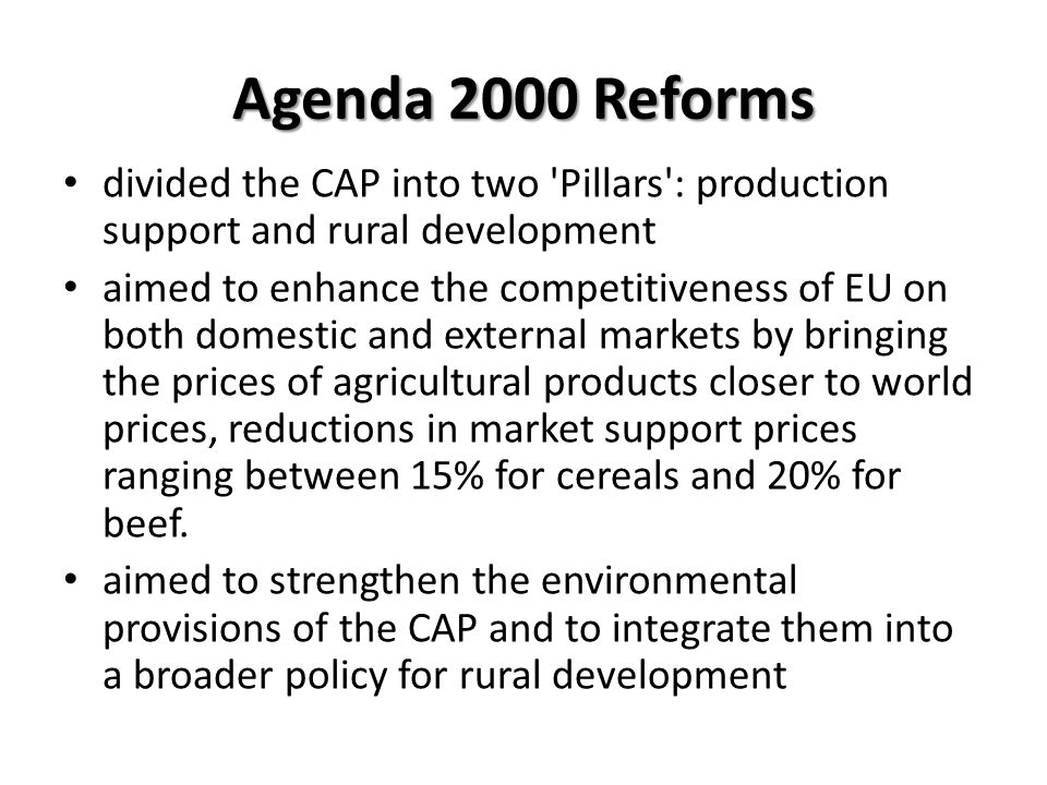 Agenda 2000 Reforms divided the CAP into two Pillars : production support and rural development.