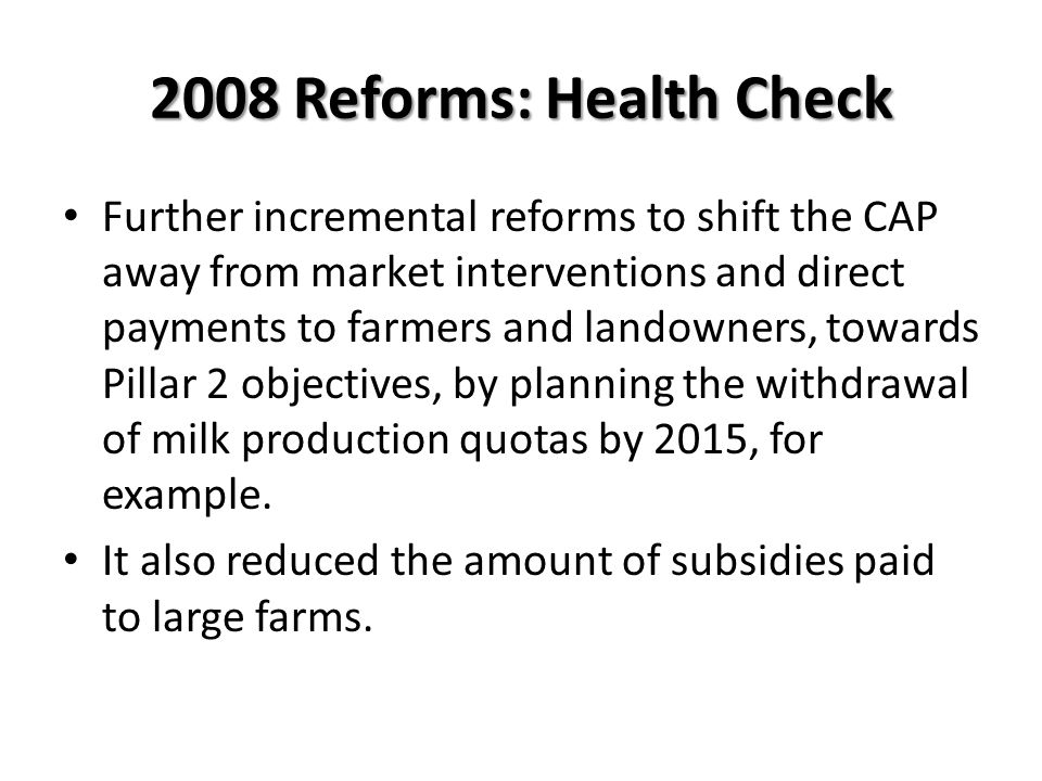 2008 Reforms: Health Check