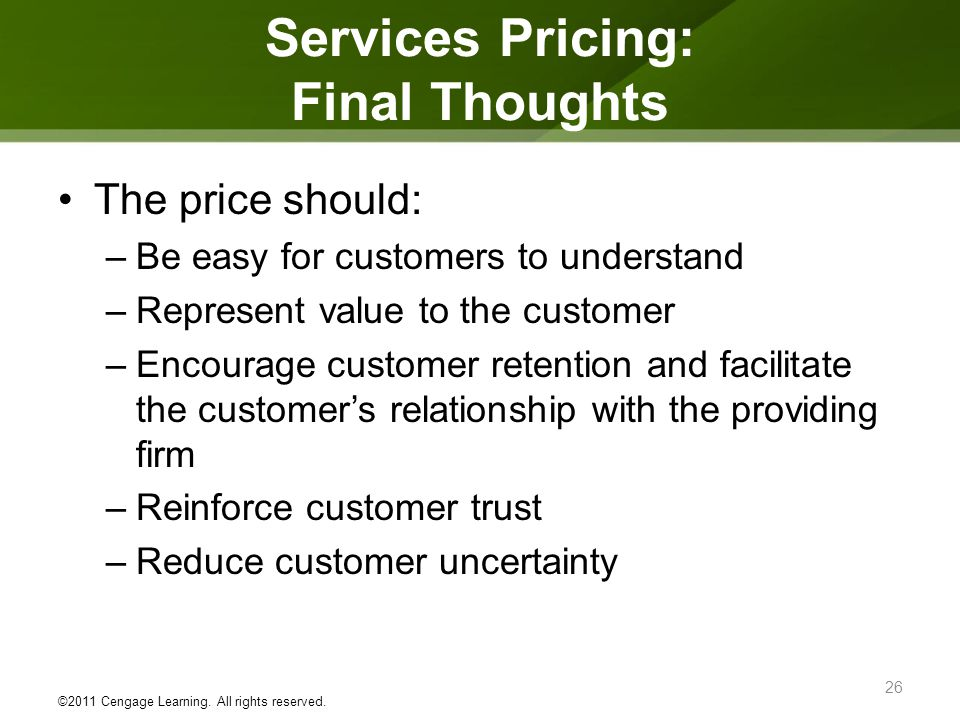Services Pricing: Final Thoughts