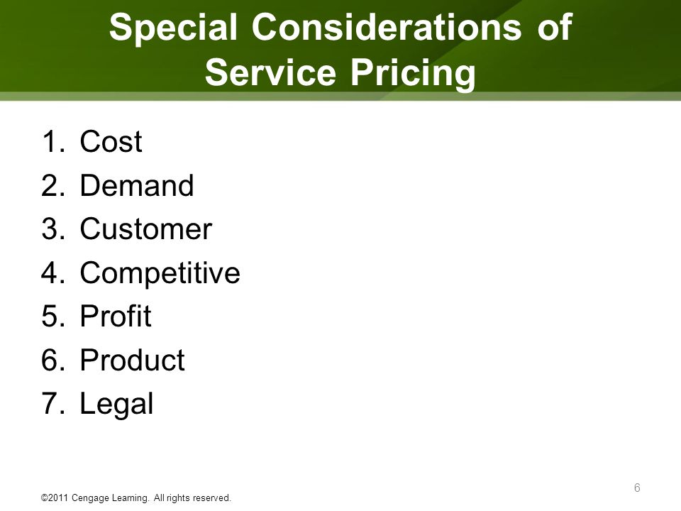 Special Considerations of Service Pricing
