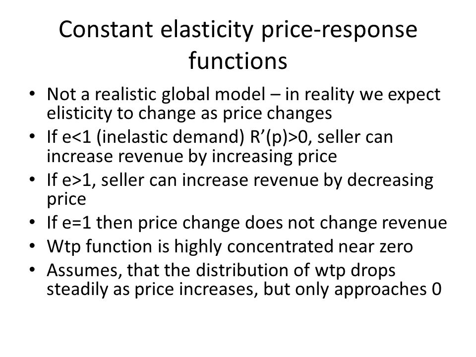 Constant elasticity price-response functions