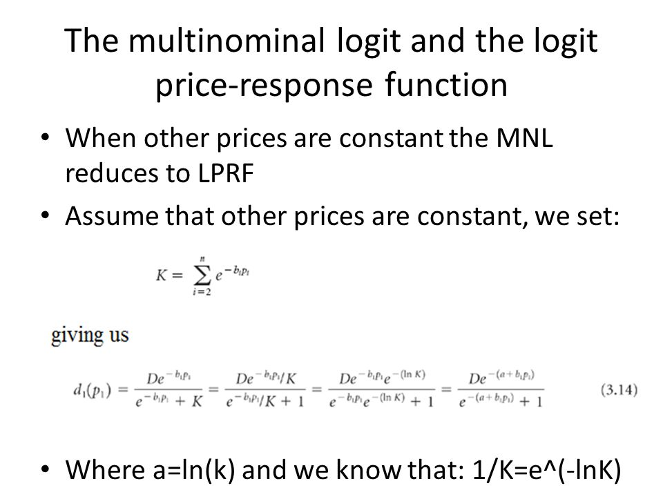 The multinominal logit and the logit price-response function