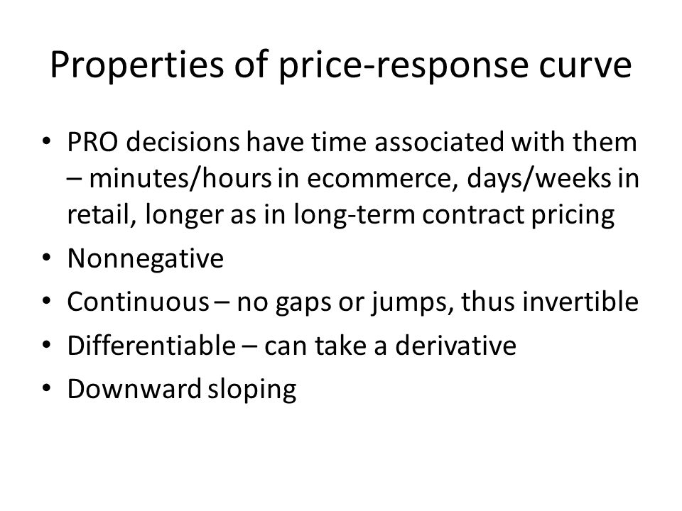 Properties of price-response curve