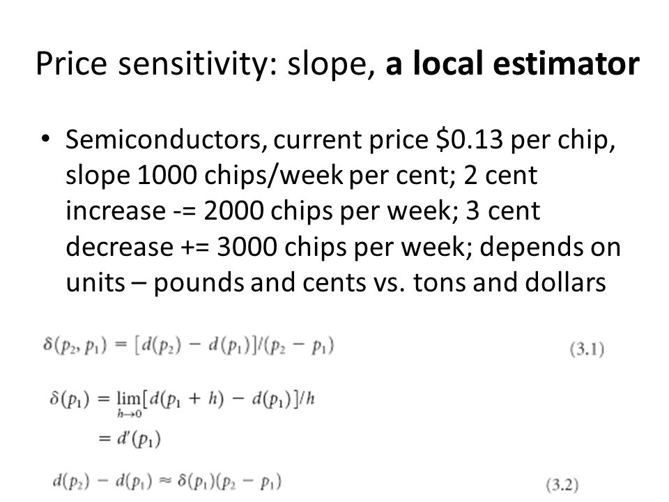Price sensitivity: slope, a local estimator