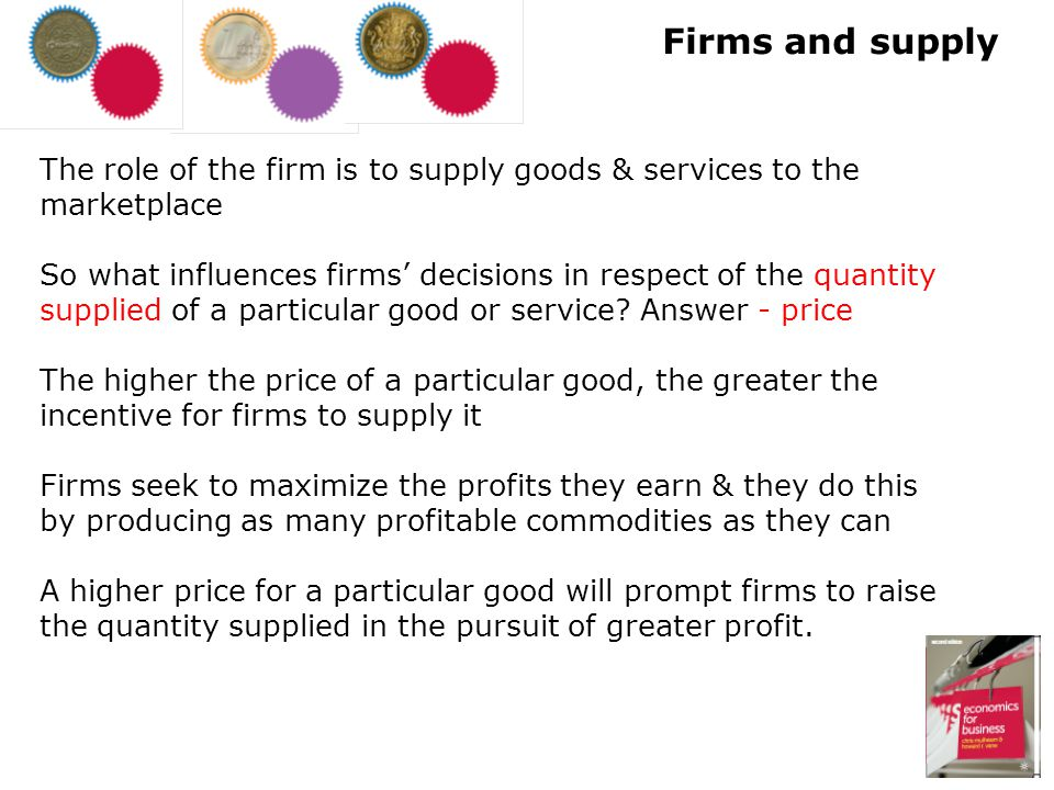 Firms and supply The role of the firm is to supply goods & services to the marketplace.