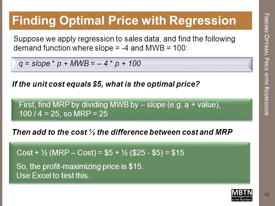 Finding Optimal Price with Regression