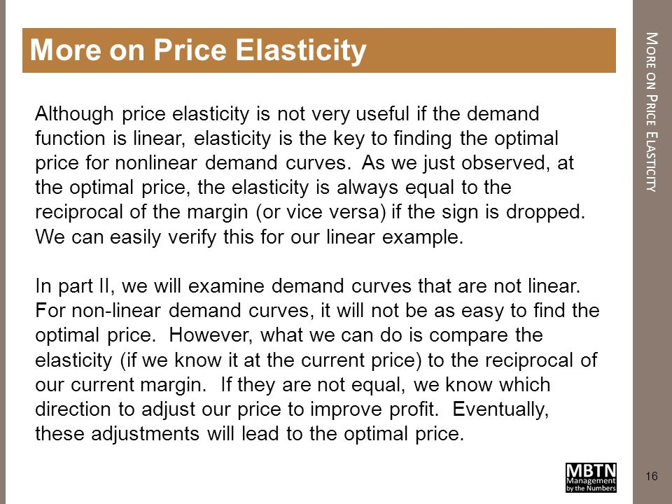 More on Price Elasticity