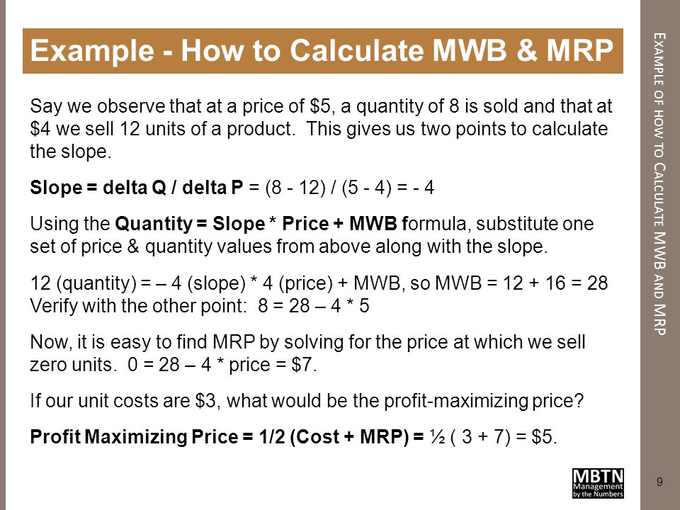 Example of how to Calculate MWB and MRP
