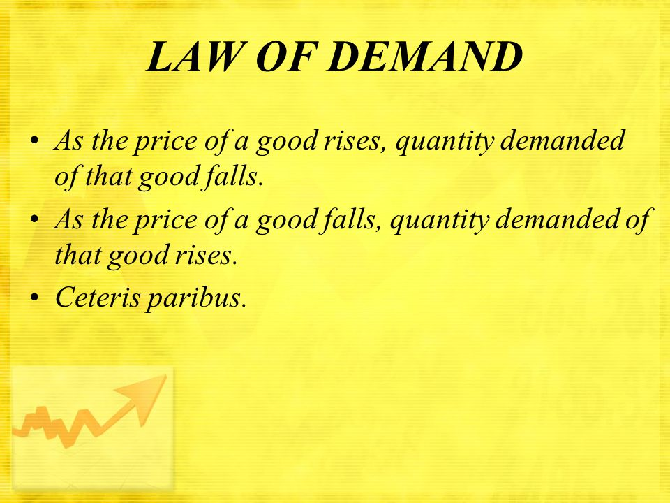 LAW OF DEMAND As the price of a good rises, quantity demanded of that good falls.