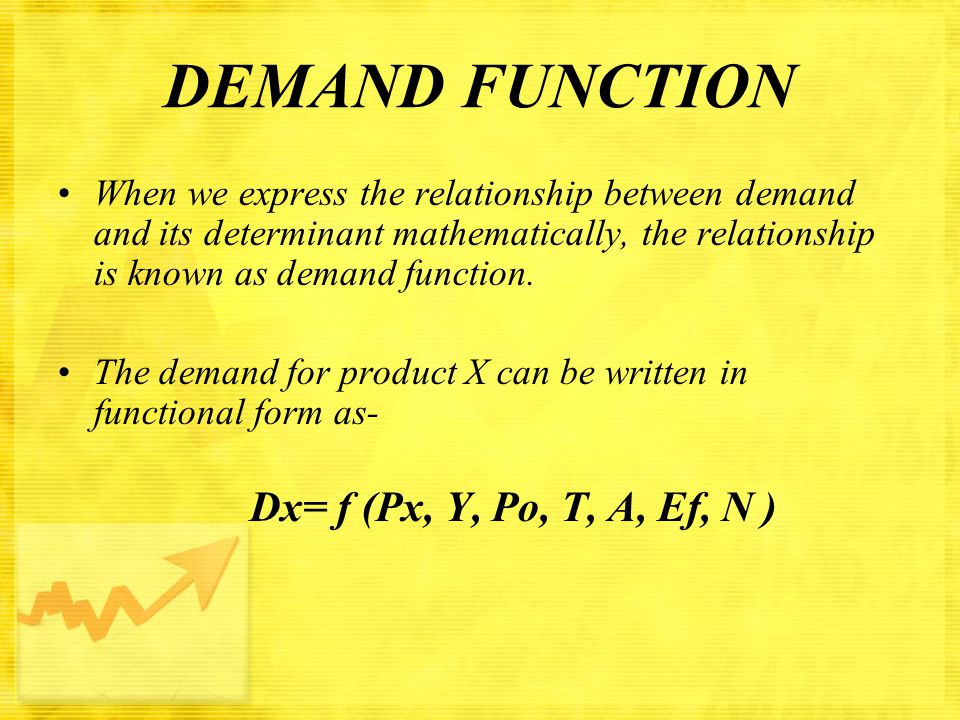 DEMAND FUNCTION When we express the relationship between demand and its determinant mathematically, the relationship is known as demand function.