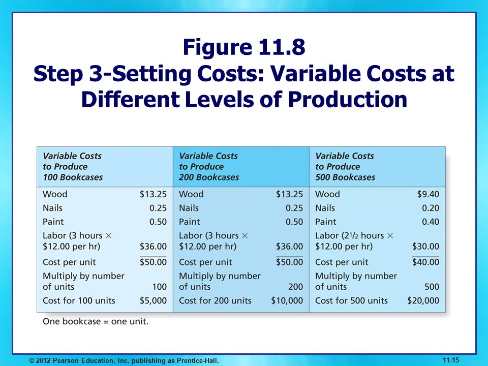 Figure 11.8 Step 3-Setting Costs: Variable Costs at Different Levels of Production