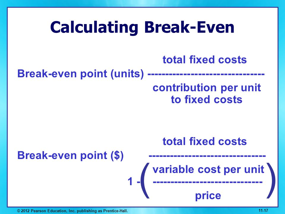 Calculating Break-Even