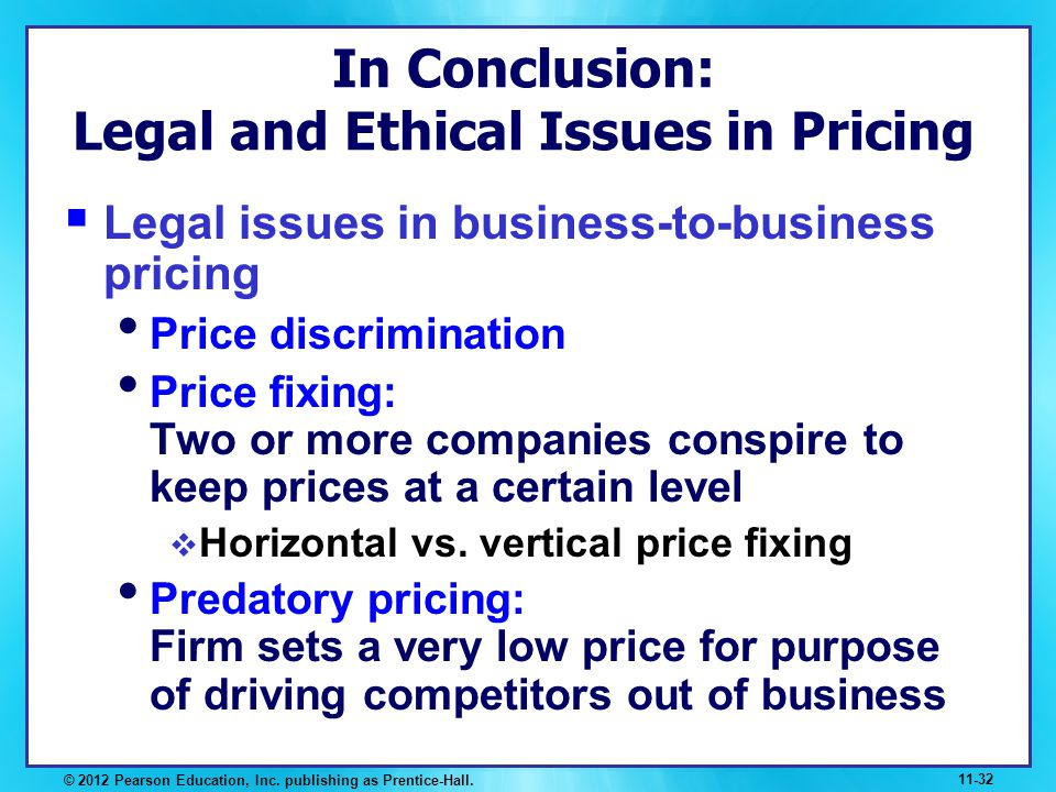 In Conclusion: Legal and Ethical Issues in Pricing