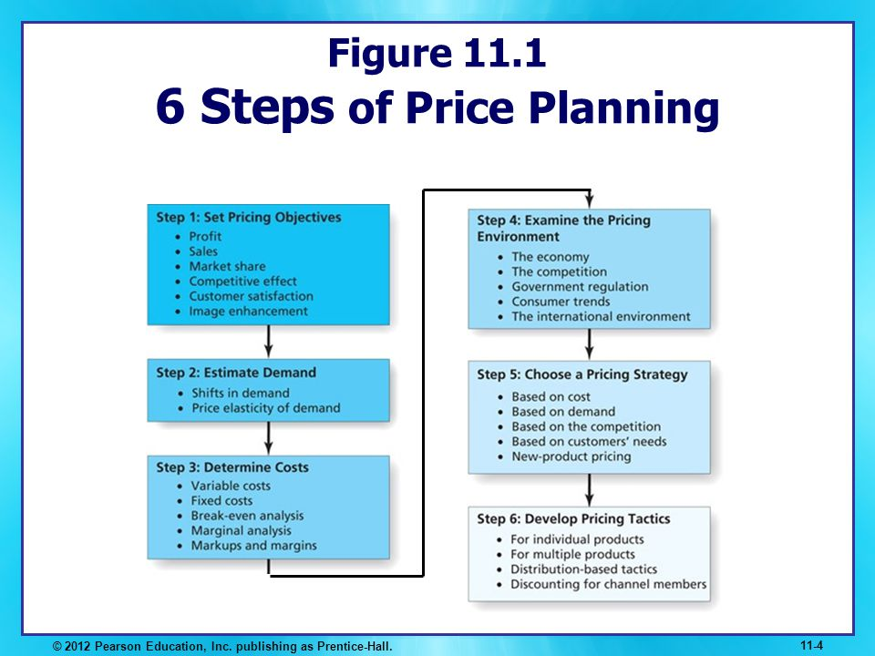 Figure 11.1 6 Steps of Price Planning