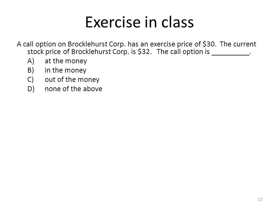 Exercise in class