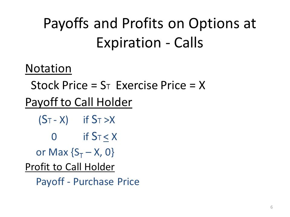Payoffs and Profits on Options at Expiration - Calls