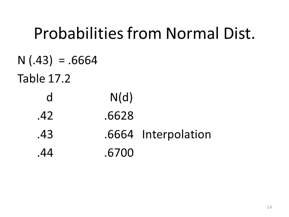 Probabilities from Normal Dist.