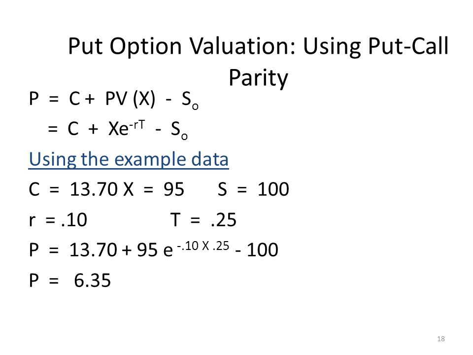 Put Option Valuation: Using Put-Call Parity