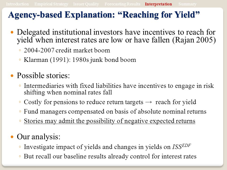 Agency-based Explanation: Reaching for Yield