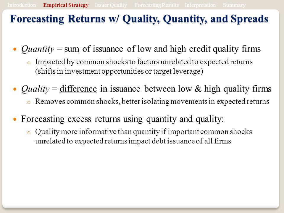 Forecasting Returns w/ Quality, Quantity, and Spreads