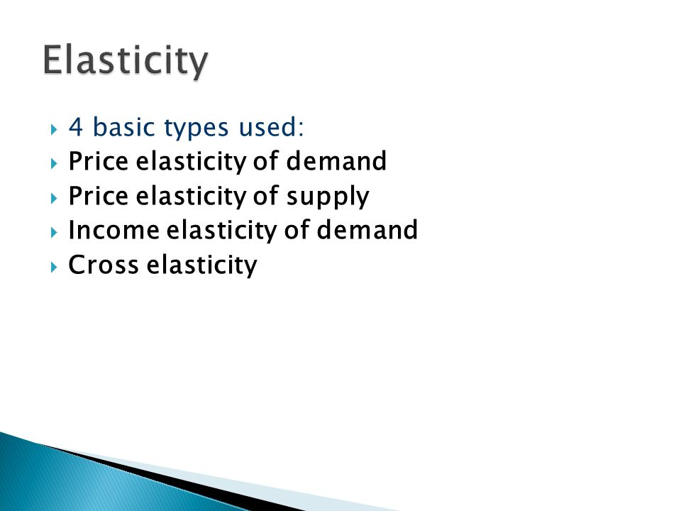Elasticity 4 basic types used: Price elasticity of demand