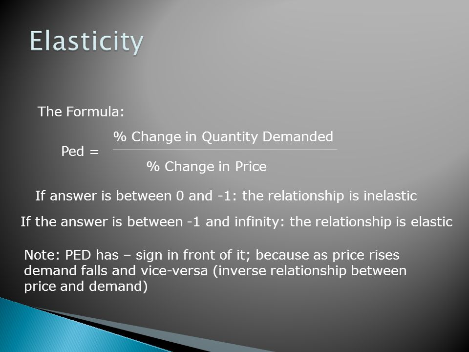 Elasticity The Formula: % Change in Quantity Demanded