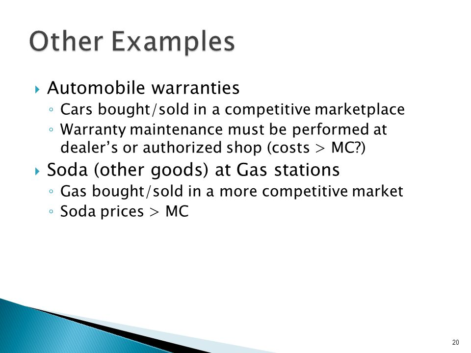 Other Examples Automobile warranties