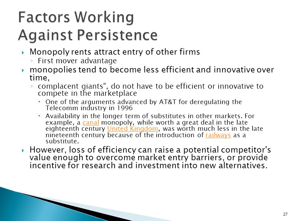 Factors Working Against Persistence