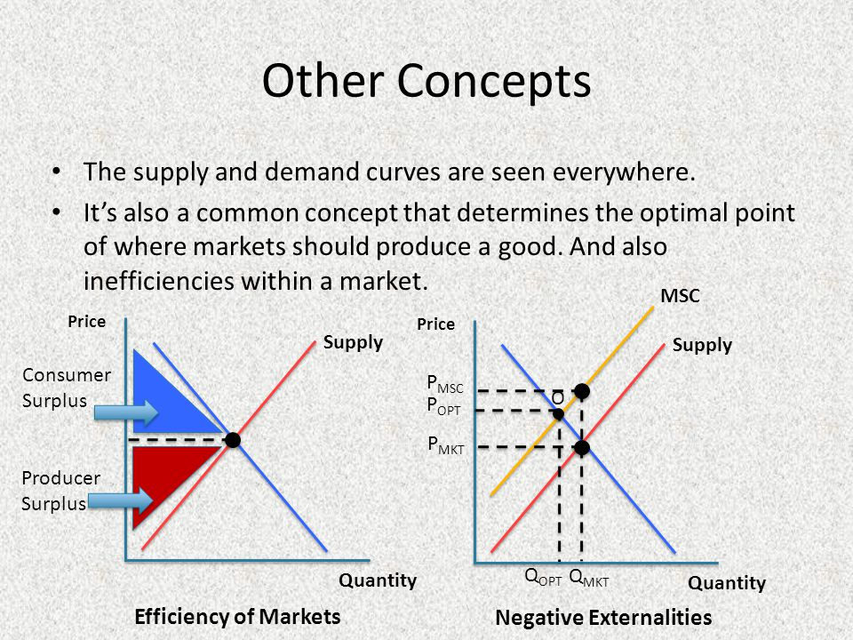 Other Concepts The supply and demand curves are seen everywhere.