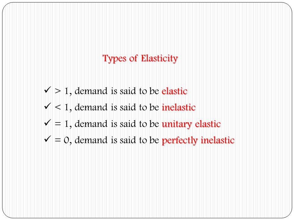 Types of Elasticity > 1, demand is said to be elastic. < 1, demand is said to be inelastic. = 1, demand is said to be unitary elastic.