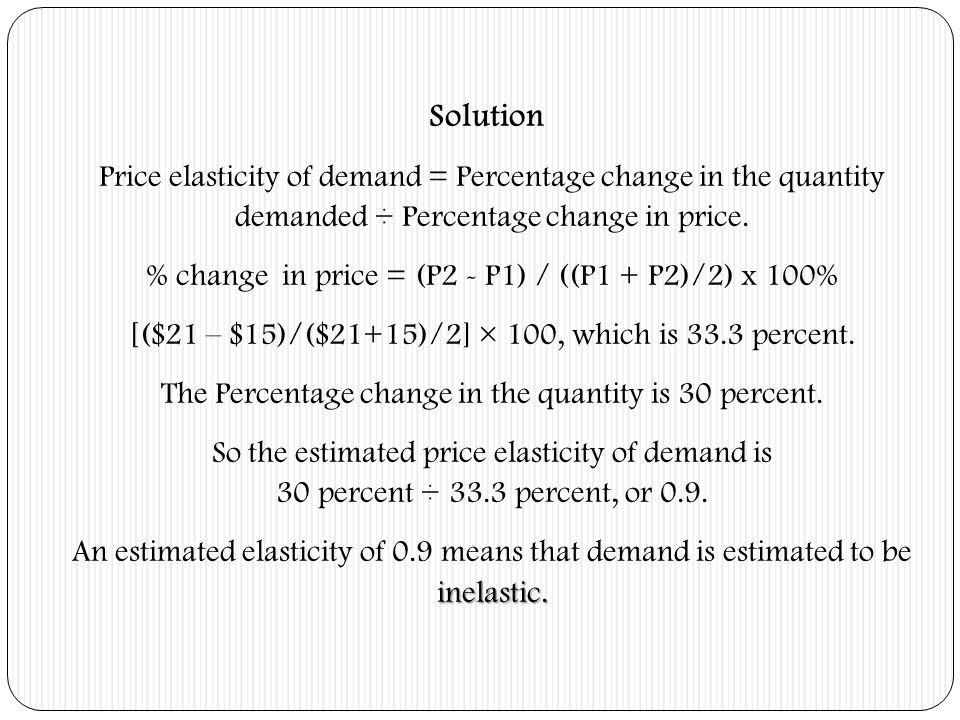 Solution Price elasticity of demand = Percentage change in the quantity demanded ÷ Percentage change in price.