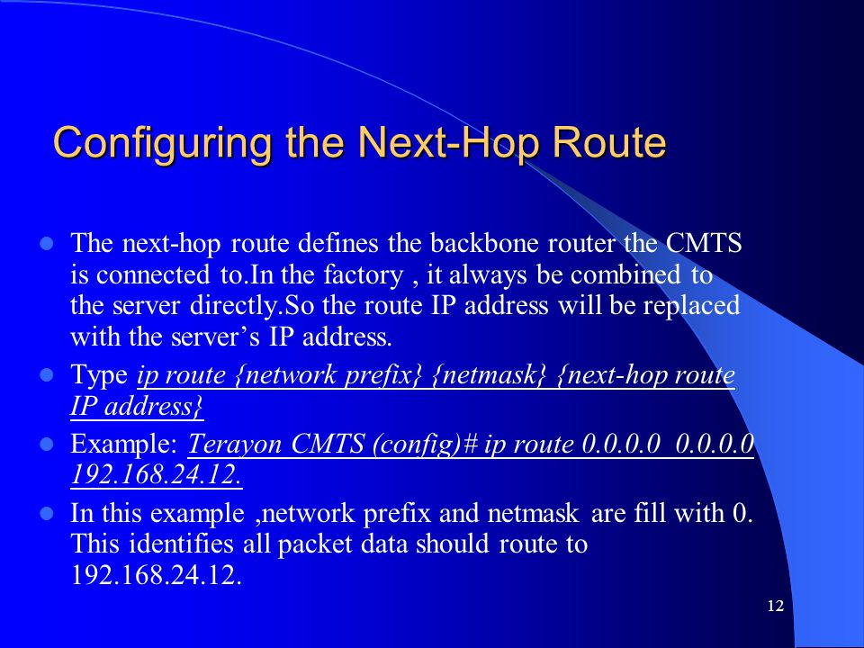Configuring the Next-Hop Route