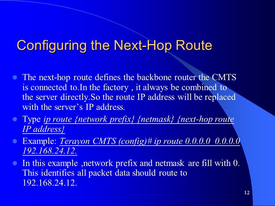 Configuring the Next-Hop Route